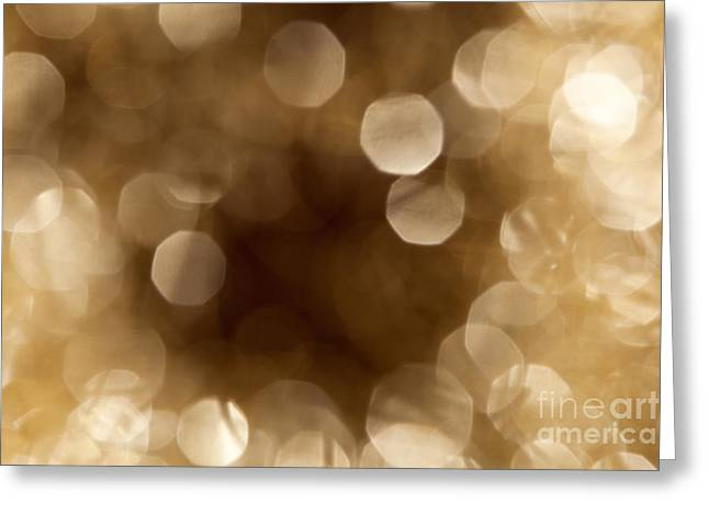 Twinkle Greeting Cards - Golden Bokeh with a dark center Greeting Card by Wolfgang Steiner