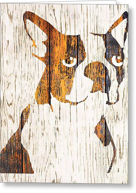 Boston Terrier Framed Prints Greeting Cards - Golden Boston Greeting Card by B Campbell