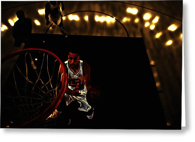 Valuable Mixed Media Greeting Cards - Golden Boy Stephen Curry Greeting Card by Brian Reaves