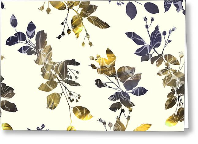 Golden Branches Greeting Card by Varpu Kronholm
