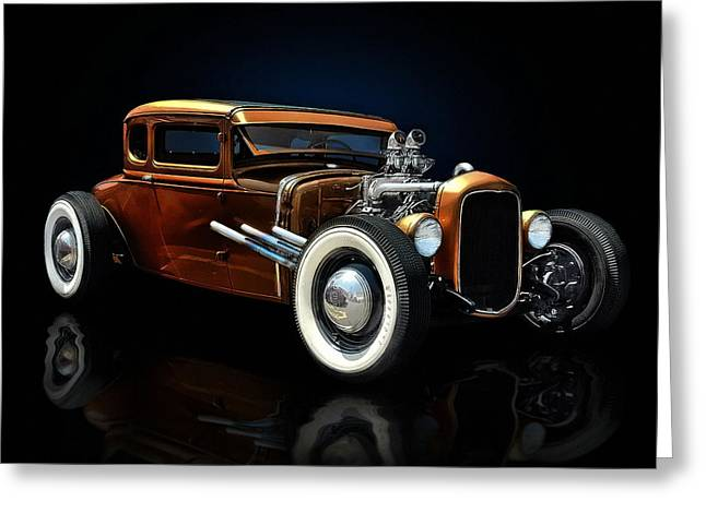 Hot Rod Greeting Cards - Golden Brown Hot Rod Greeting Card by Rat Rod Studios