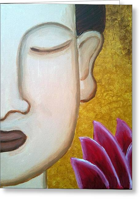 Best Sellers -  - Incarnation Greeting Cards - Golden Buddha Lotus Greeting Card by Adeeti Bhagat