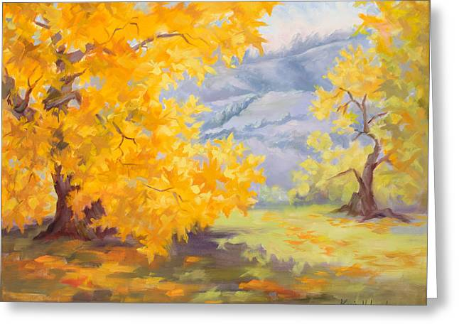 Golden California Sycamores Greeting Card by Karin Leonard