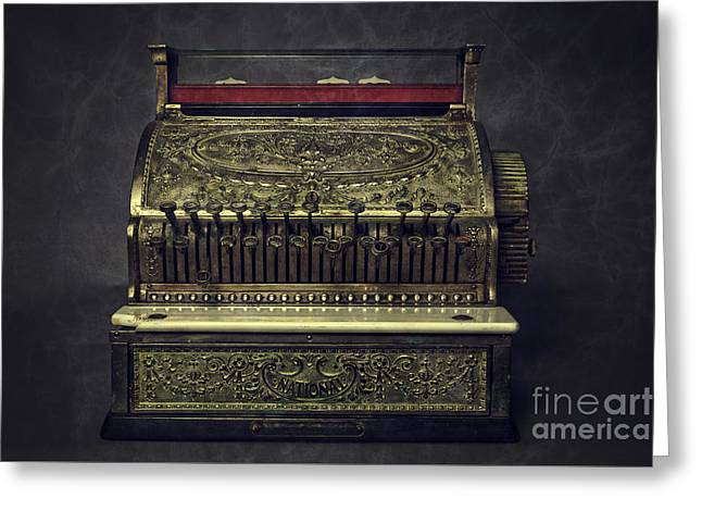 Establishment Greeting Cards - Golden Cash Register Greeting Card by Edward Fielding