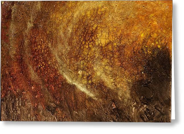 Ultra Modern Mixed Media Greeting Cards - Golden Cavern Greeting Card by Paul Tokarski