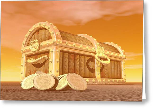 Golden Chest - 3d Render Greeting Card by Elena Duvernay