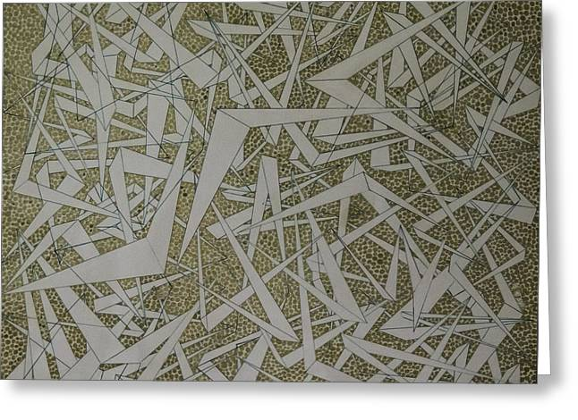 Experiment Drawings Greeting Cards - Golden Chevron Experiment 2005-6 Greeting Card by KC Pearson