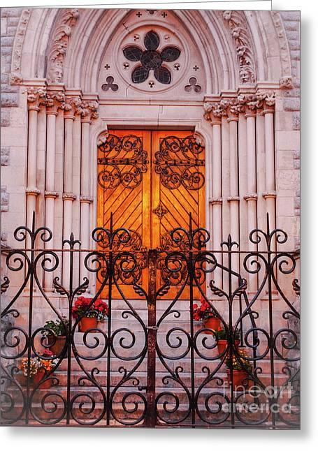 Golden Church Door Greeting Card by Lexa Harpell