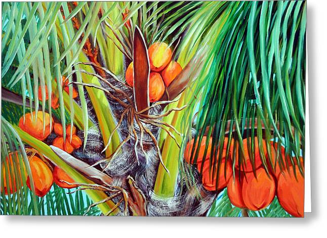 Coconut Trees Greeting Cards - Golden Coconuts Greeting Card by Jose Manuel Abraham