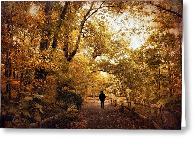 Nature Walk Greeting Cards - Golden Corridor Greeting Card by Jessica Jenney