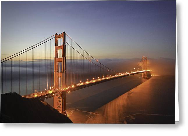 Dawn Over The Golden Gate Greeting Card by Nathan Spotts