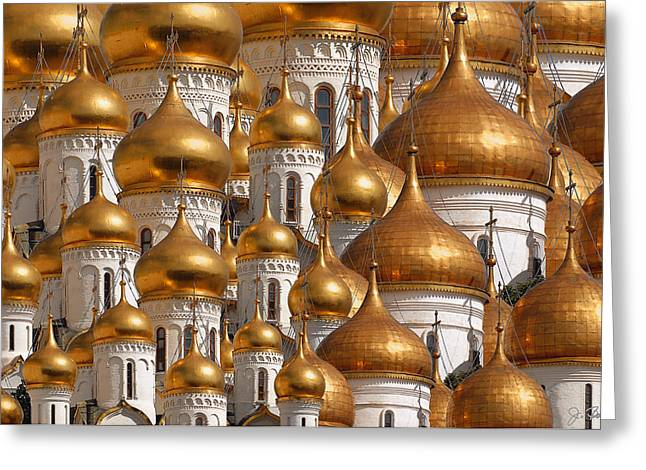 Onion Greeting Cards - Golden Domes Greeting Card by Joe Bonita