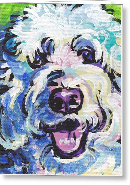 Dog Portraits Greeting Cards - Golden Doodly Dee Greeting Card by Lea