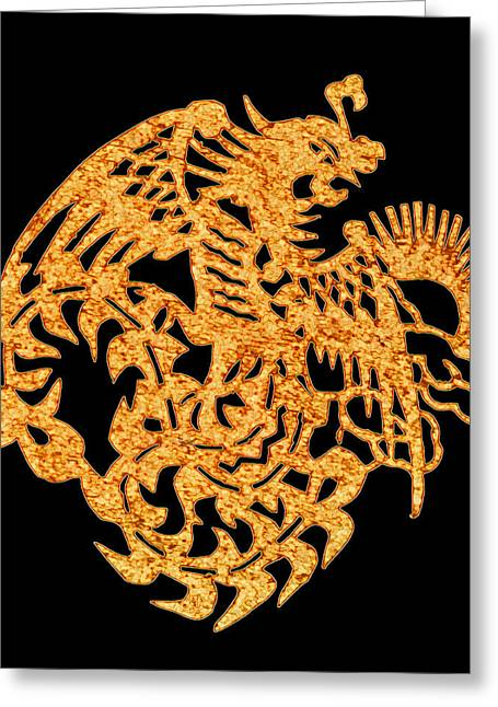 Cut-outs Greeting Cards - Golden Dragon Greeting Card by Stephanie Grant