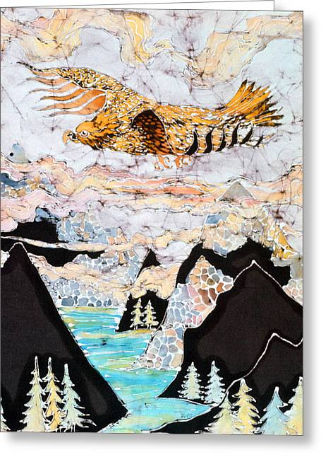 Lord Of The Rings Tapestries - Textiles Greeting Cards - Golden Eagle Flies Above Clouds and Mountains Greeting Card by Carol  Law Conklin