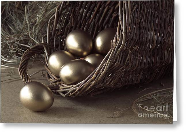 Golden Egg Greeting Cards - Golden Eggs In Basket Greeting Card by Gerard Lacz