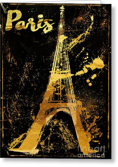 Golden Eiffel Tower Paris Greeting Card by Mindy Sommers