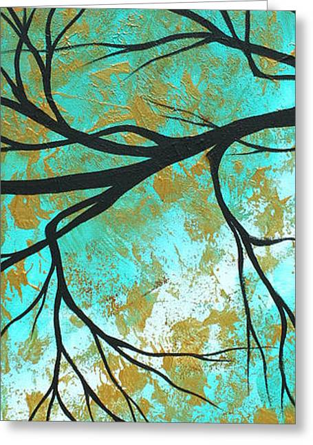 Abstract Style Greeting Cards - Golden Fascination 3 Greeting Card by Megan Duncanson