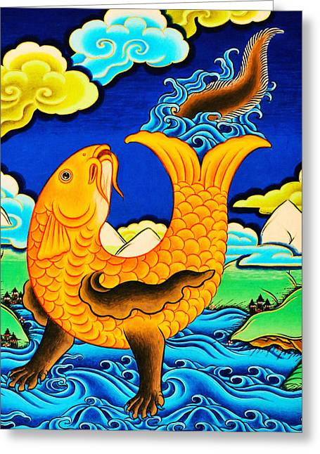 Golden Fish Paintings Greeting Cards - Golden Fish Greeting Card by Lanjee Chee