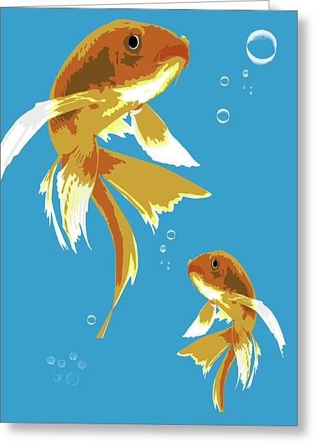 Vertical Greeting Cards - Golden fishes Greeting Card by Mihaela Pater