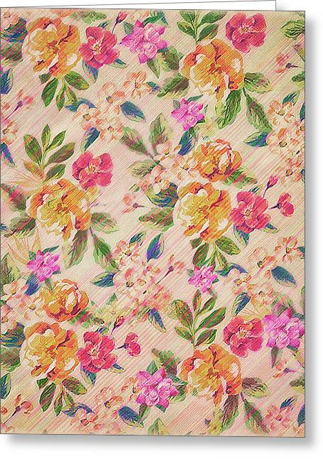 Golden Flitch Digital Vintage Retro  Glitched Pastel Flowers  Floral Design Pattern Greeting Card by Philipp Rietz