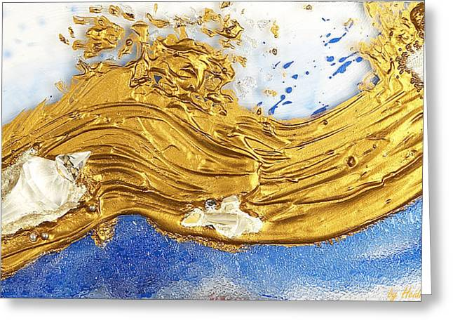 Flow Glass Greeting Cards - Golden flow crystalline Greeting Card by Heidi Sieber