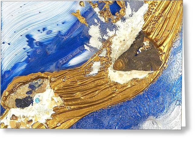 Flow Glass Greeting Cards - Golden flow joy YEEESSS Greeting Card by Heidi Sieber