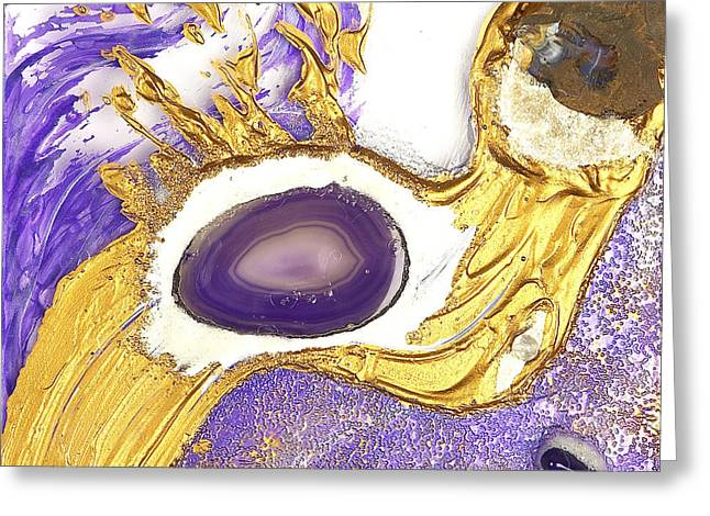 Flow Glass Greeting Cards - Golden flow purple 2 Greeting Card by Heidi Sieber