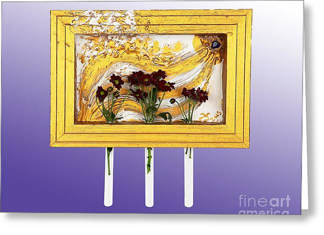 Golden Reliefs Greeting Cards - Golden flow source Greeting Card by Heidi Sieber