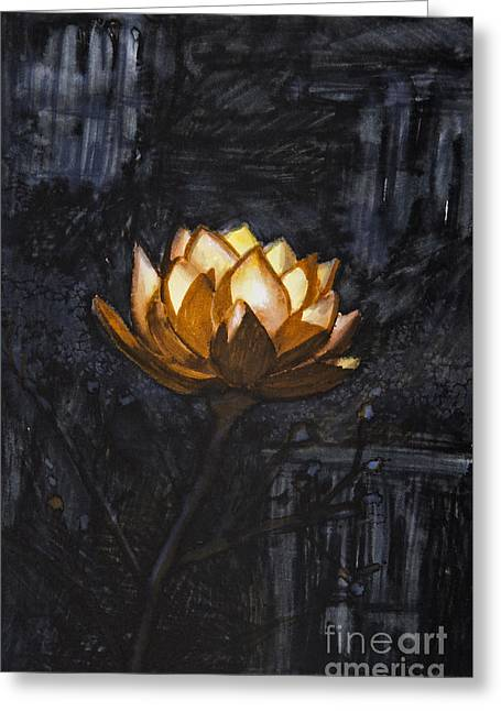 Painted Image Greeting Cards - Golden flower on black background Greeting Card by Tara Thelen