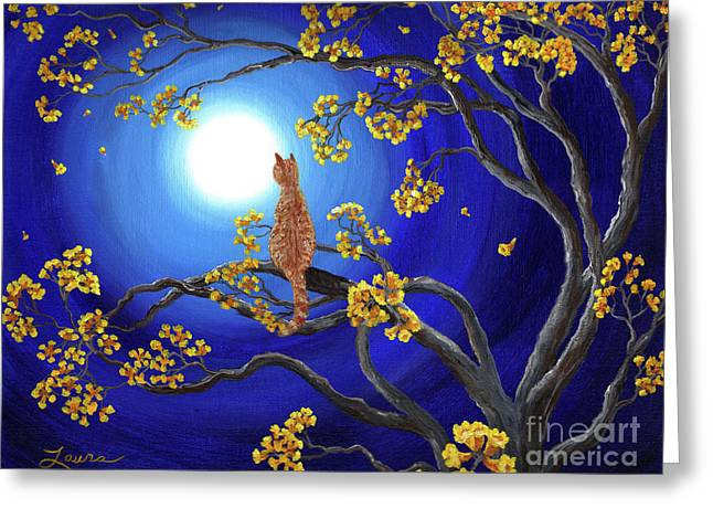 Orange Tabby Paintings Greeting Cards - Golden Flowers in Moonlight Greeting Card by Laura Iverson