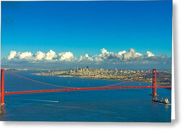Golden Gate And The City Greeting Card by Bill Gallagher
