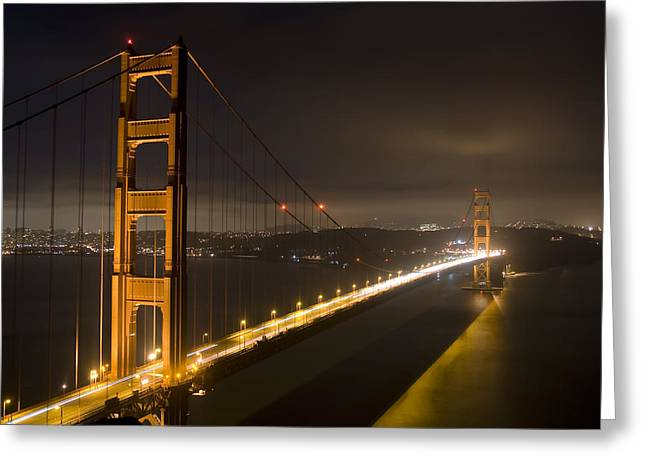 Golden Gate Greeting Cards - Golden Gate at night Greeting Card by Mike Irwin