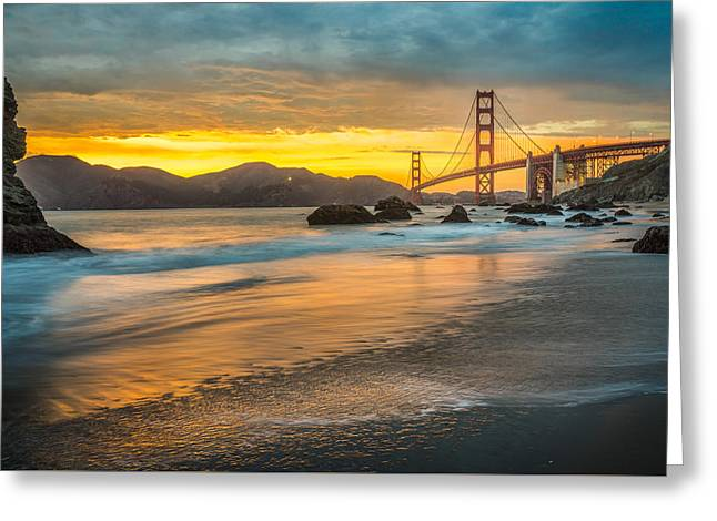 Golden Gate Bridge After Sunset Greeting Card by James Udall