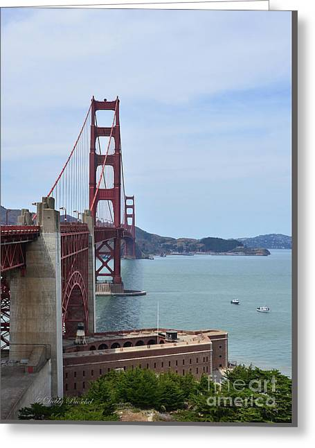 Marin County Greeting Cards - Golden Gate Bridge and Old Electric Power Plant Greeting Card by Debby Pueschel