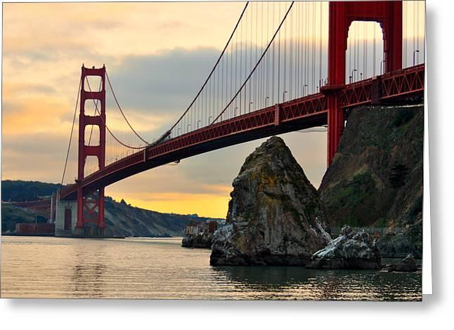 Golden Gate Bridge At Sunset Greeting Card by Pamela Rose Hawken