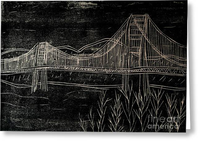 Famous Bridge Mixed Media Greeting Cards - Golden Gate Bridge Black and White Woodcut Print  Greeting Card by Marina McLain
