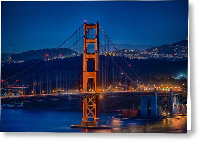 Golden Gate Bridge Blue Hour Greeting Card by Paul Freidlund