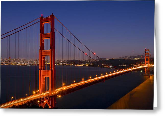 San Francisco Bay Bridge Greeting Cards - Golden Gate Bridge by Night Greeting Card by Melanie Viola