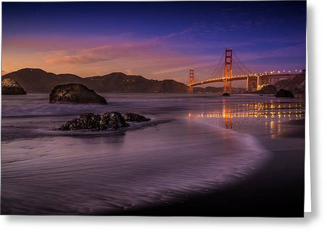San Francisco Greeting Cards - Golden Gate Bridge Fading Daylight Greeting Card by Mike Leske