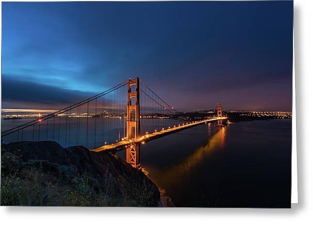 Golden Gate Bridge Greeting Card by Larry Marshall