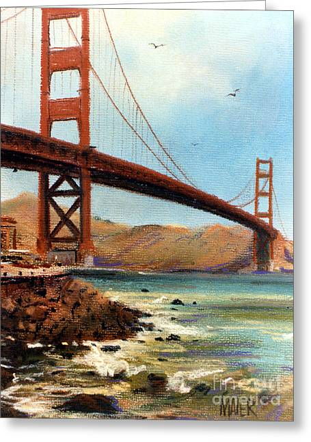 Gate Pastels Greeting Cards - Golden Gate Bridge Looking North Greeting Card by Donald Maier