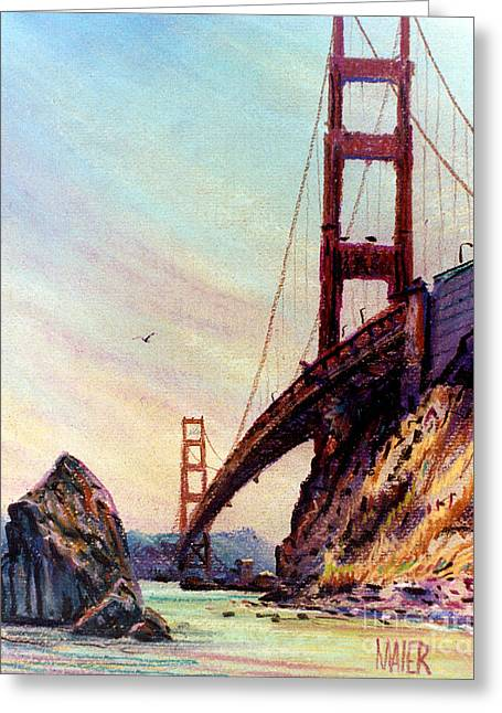 Gate Pastels Greeting Cards - Golden Gate Bridge Looking South Greeting Card by Donald Maier