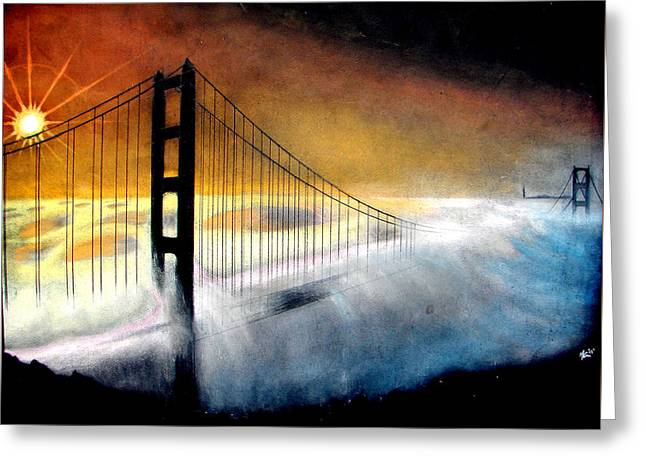San Francisco Giants Mixed Media Greeting Cards - Golden Gate Bridge Greeting Card by Marcus Quinn
