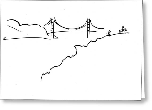 Golden Gate Drawings Greeting Cards - Golden Gate Bridge Greeting Card by Patrick Morgan