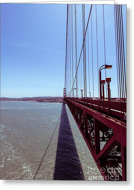 Golden Greeting Cards - Golden Gate Bridge Perspective Greeting Card by Ana V  Ramirez