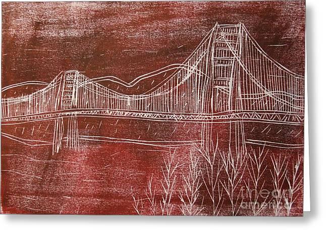 Famous Bridge Mixed Media Greeting Cards - Golden Gate Bridge Red Woodcut Print  Greeting Card by Marina McLain