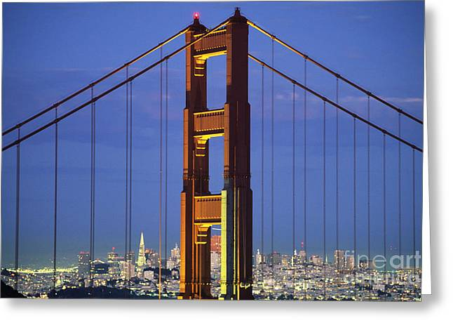 Opening Night Greeting Cards - Golden Gate Bridge Greeting Card by William Waterfall - Printscapes
