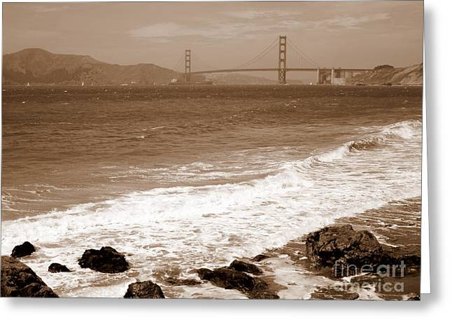 Golden Gate Bridge With Shore - Sepia Greeting Card by Carol Groenen