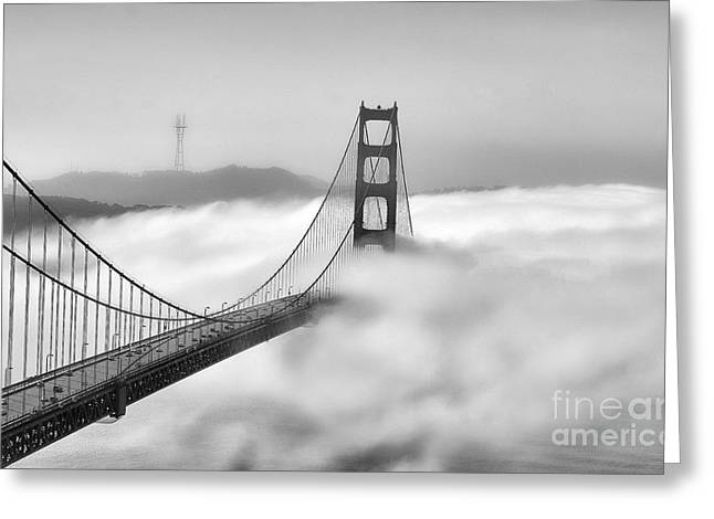 Chuck Kuhn Greeting Cards - Golden Gate BW Fog Greeting Card by Chuck Kuhn